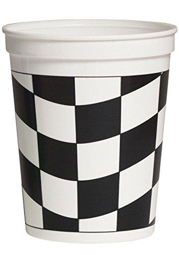 Creative Converting 12 Count Plastic Stadium Cup, 16 oz, Black/White