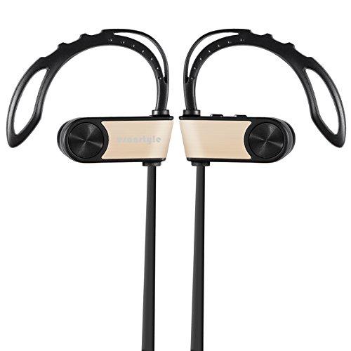 Esonstyle Bluetooth V4.1 イヤホン マイク内蔵 ワイヤレス通話 防汗 スポッツ用 高音質ステレオ ノイズキャンセリング搭載 CSR 8645技適認証済 (ゴールド)
