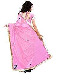 7 Colors Lifestyle Light Pink Coloured Super Net & Net Jacquard Embroidered Saree