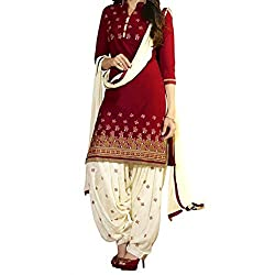 Shree Hari Creation Women's Poly Cotton Unstitched Dress Material (251_Red_Free Size)