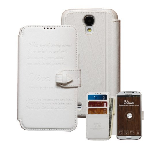 Moon Monkey European Style Genuine Leather Wallet Case With Stand Folio Function For Samsung Galaxy S4 (White)