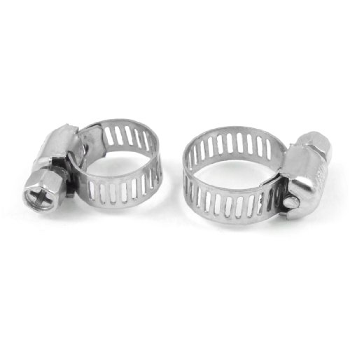 Amico 5 Pcs Adjustable 6-12mm Range Worm Drive Hose Clamps Silver Tone