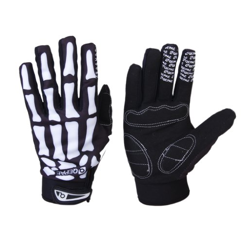 Skeleton-Pattern Full Finger Bicycle/Cycling/Bike Sporting Gloves Black + White L