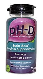 pH-D Feminine Health Support, Boric Acid Vaginal Suppositories, Bottle of 14 (600mg)
