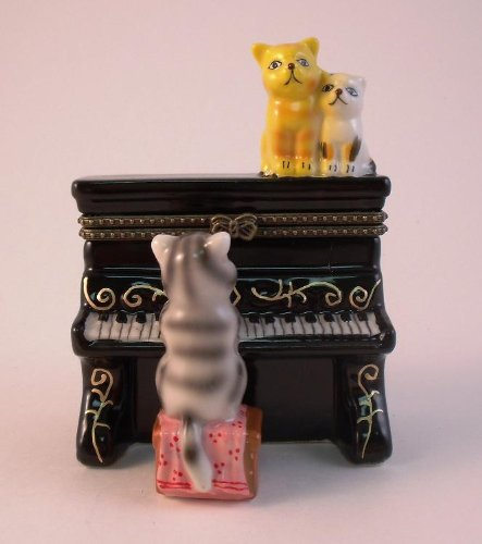 Cat Kittens on Piano Music Hinged Trinket Box phb