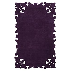 Hand-Tufted Wool Striped Area Rug 4x6 Purple Simplicity