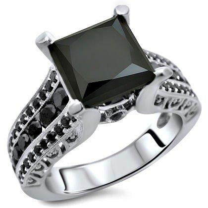 2.90Ct Black Princess Cut Diamond Engagement Ring 14K White Gold