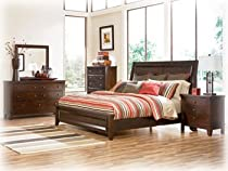 Hot Sale Ashley Holloway King Panel Bed in Vintage Casual Medium Brown