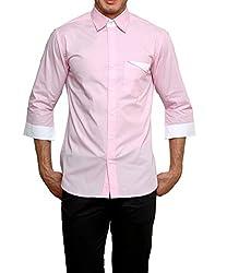 Dazzio Men's Slim Fit Cotton Casual Shirt (DZSH0905_Pink_42)