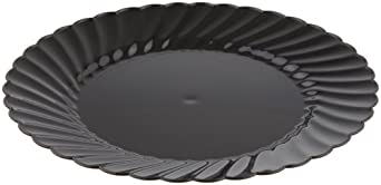"Classicware CW75180BK 7.5"" Black Plastic Dinnerware Plate (18 Packs of 10)"