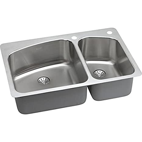 Elkay LKHSR2509RPD1 1-Hole Gourmet 22-Inch x 33-Inch Double Basin Drop-In Stainless Steel Kitchen Sink