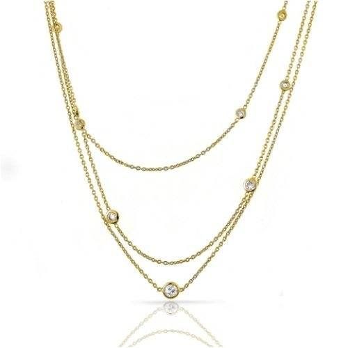Bling Jewelry CZ Diamonds by the Yard Sterling Silver Gold Vermeil Necklace 54