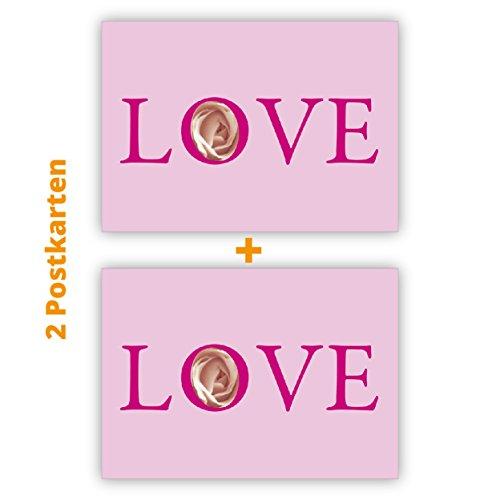 2 romantische Liebes Postkarten (Postkarten-Set): Love Postkarten (Postkarten-Set)-Set in rosa
