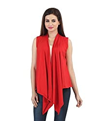 Bfly Red Sleeveless Long Shrug