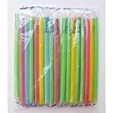 Large Milkshake Straws - Extra Wide Diameter - 35ct/Poly Bag. Cellophane Wrapped, Bright Colors.