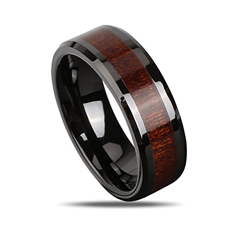 J.Rosée Tungsten Ring Mens 8MM Wedding Engagement Band Black Wood Center, Size 10