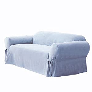 Light Blue Couch : ... Suede Solid Light Blue Couch/sofa Cover Slipcover: Home & Kitchen