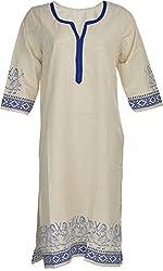 Artisan Women's Cotton Straight Kurta (CZF10010_XXL, White & Blue, XXL)