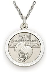 """Solid .925 Sterling Silver Football Medal St. Saint Christopher on Back 3/4"""" Boys Sports Patron Saint St. Comes with a 20'' chain Pendant Necklace in a deluxe velvet box"""