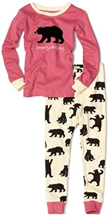 Hatley Girls 2-6x Black Bears On Natural Applique Polo Pajama Set, Multi-Colored, 5