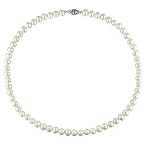 """Sterling-Silver 6-6.5 MM White Freshwater Cultured Pearl Strand, 18"""""""
