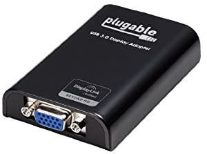 Plugable USB 3.0 to VGA Video Graphics Adapter Card for Multiple Monitors up to 1920x1080 Each (DisplayLink DL-3100 Chipset - Windows XP, 7, 8, 8.1)