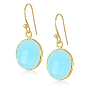 Faceted Blue Chalcedony Round Shape Bezel with Gold over Silver Ear Wire Drop Earrings