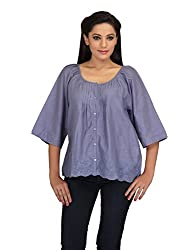 lol grey Color Plain Casual Top for women