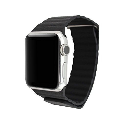 Happy Hours® Deluxe Apple Watch Sport Edition 38mm Genuine PU Leather Loop with Magnetic Quilted Closure Buckle Wrist Band Replacement iWatch Strap Metal Adapter£¬Black