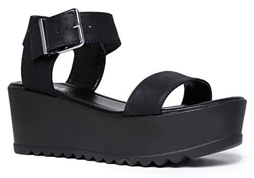 Women's Platform Slip On Sandal - Pull on Open Peep Toe Fashion Chunky Platform Wedge Ankle Strap Shoe by J Adams