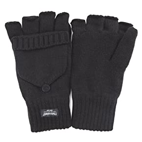 Mens Thinsulate Capped Fingerless Thermal Gloves (3M 40g)