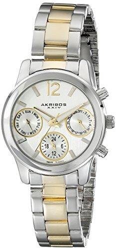 Akribos XXIV Ultimate Multi-Function Silver Dial Two-tone Ladies Watch AK709TTG