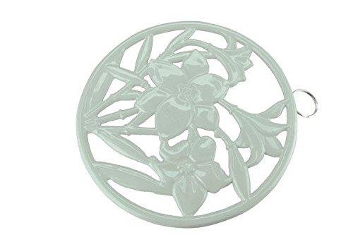Apollo Dessous de plat rond Fleurs en fonte, vert menthe
