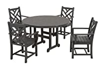 Hot Sale POLYWOOD PWS122-1-GY Chippendale 5-Piece Dining Set, Slate Grey