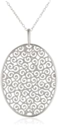 """Sterling Silver Large Filigree Oval Pendant Necklace, 18"""""""