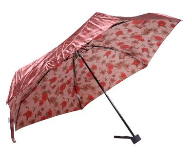Two Tone Super Mini Compact Umbrella Satin Fabric Luxury Rose Design