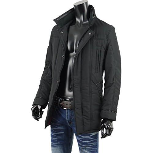 コート メンズ ライト ダウン 中綿 暖か 軽量 ハーフコート ショート V270820-04 ブラック M