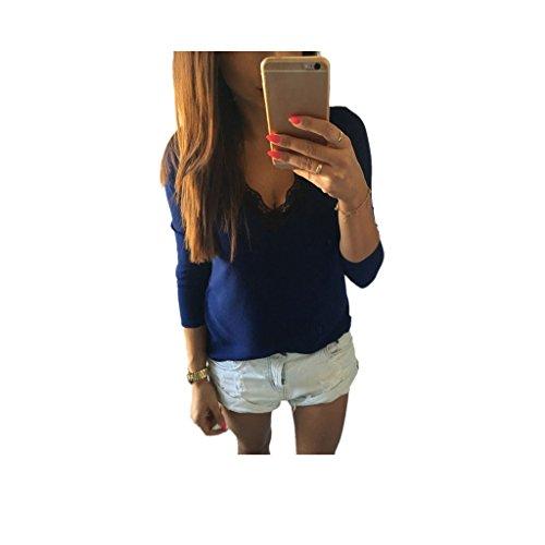 Koly_camicetta camicia casual a maniche lunghe di pizzo T donne della moda (M, Blu)