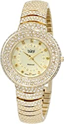 Burgi Women's BUR048YG Diamond Accent Crystal Fashion Watch
