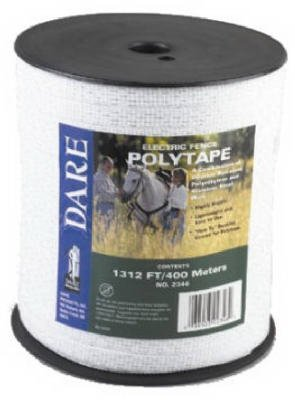 Dare Products 2346 Electric Fence Tape, White Poly & 5-Wire Stainless Steel, .5-In. X 1,312-Ft. - Quantity 6