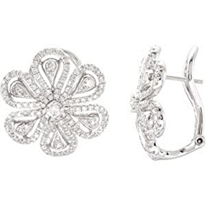 IceCarats Designer Jewelry 14K White Gold 1 1/4 Ctw Diamond Earrings . Pair 1 1/4 Ct Tw