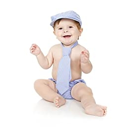 juDanzy baby boys gift box cabbie hat set (1-2 Years, Blue Gingham)