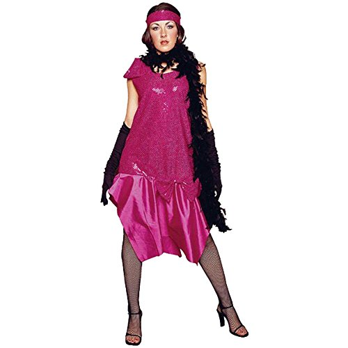 Fushia Roaring 20s Adult Costume Dress (Size: Standard 8-12)