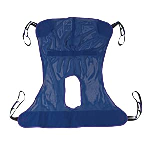 Drive Medical Full Body Patient Lift Sling without Commode Opening, Blue, Medium