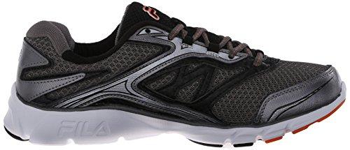 Fila Men's Stir Up Running Shoe, Dark Silver/Black/Vibrant Orange, 10 M US