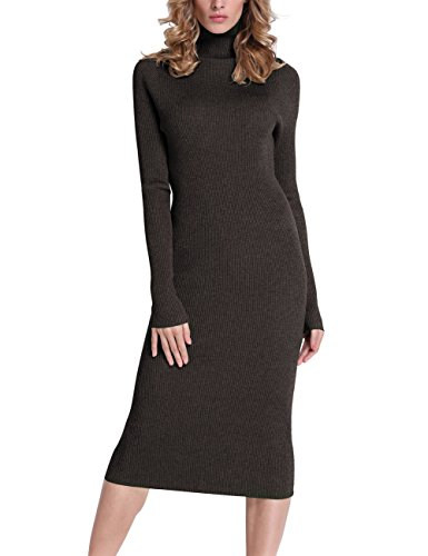 Roco roca Women's Turtleneck Ribbed Elbow Long Sleeve Knit Sweater Dress Deep Coffee M