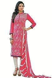 Aradhya Women's Pink Satin Cotton Dress Material