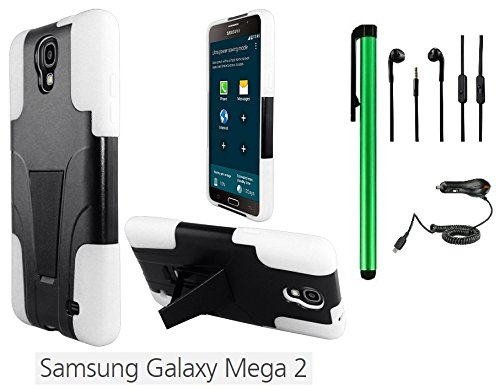 """Samsung Galaxy Mega 2 (2014 Oct Released; At&T; 6"""" Hd Screen) 2 In 1 Phone Case - Premium Heavy Duty Dual Shield Hybrid Protector Case With Kickstand + Car Charger + 3.5Mm Stereo Earphones + 1 Of New Metal Stylus Touch Screen Pen (White / Black)"""