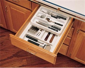 Rev-A-Shelf RT 12-3H Rt 12 Shallow Tray with Half Top Rolling Tray - Polymer-Glossy White