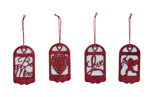 Primitives By Kathy Miniature Paper & Glitter Silhouette Valentine Ornaments